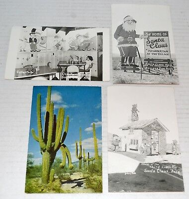 Vintage Arizona Postcards 1955 - Santa Claus, AZ (3) and Saguaro Cactus - Cool!