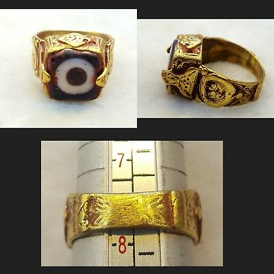 Gold Gulied Beautiful Unique Ring very Old Evil Eye protector Mosaic Glass #B4