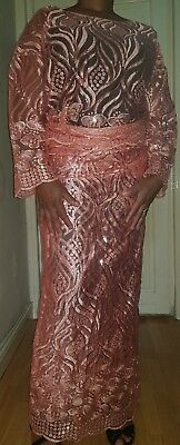 African ladies peach sequined net lace buba & wrapper /iro size 18/20, chest 52""