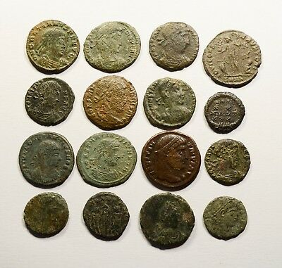 Lot Of 16 Imperial Roman Bronze Coins For Identifying - 031
