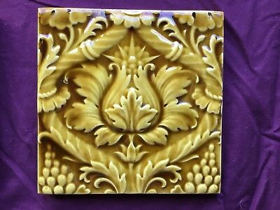 Minton Mintons Majolica Floral Arts Crafts Old 6 Tiles Vintage Antique Embossed