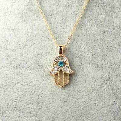 1PC Turkish Crystal Evil Eye Hand Hamsa Pendant Necklace Womens Silver Gold Colo