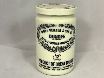 James Keiller & Son Ltd Dundee Seville Orange Marmalade 12 oz Milk Glass Jar
