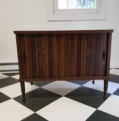 Vintage Mid Century record player vinyl cabinet wood table stand READ LISTING
