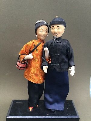 Paper Mache/Cloth Dolls Old Chinese Couple on Stand