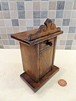 EARLY 20thC SOLID OAK VANISHING COIN MONEY BOX IN THE FORM OF AN OLD ARMOIRE