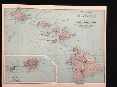Map of Hawaii 1898 Vintage Rand McNally Colored Cartographic Map Fine Art Print