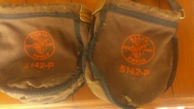 (2) VINTAGE Used KLEIN 5142 TOOL POUCH/BAG CANVAS POLE CLIMBING
