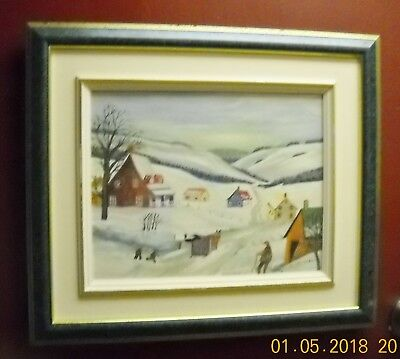 """Canadiana Naive Painting of a Rural QC Winter Scene Jeanne D""""Ark Huard"""