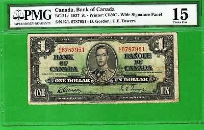 Canada - 1937 Bank of Canada 1 Dollar Banknote BC-21c  PMG15 Choice Fine King GV