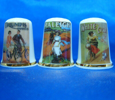 Birchcroft Porcelain China Thimbles - Set Of Three Cycling Posters