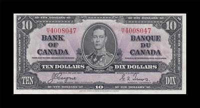 1937 BANK OF CANADA KGVI $10 **Coyne & Towers** (( EF+ ))