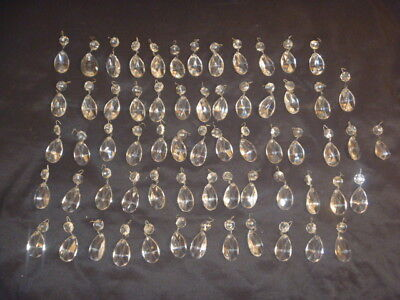 """Vintage 63 Clear Crystal Glass Prisms 2 Piece 2 1/2"""" Each"""