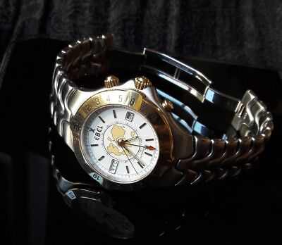 Ebel Sportwave Meridian Worldtime Herrenuhr in Stahl Gold 18k 750 Automatic