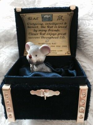 Vintage Chinese Year Of The Rat Figure In Velvet Box