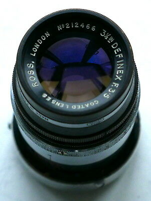 Ross 3.25 inch f3.5 Definex focusing lens for Wrayflex camera in M41.2 screw mou