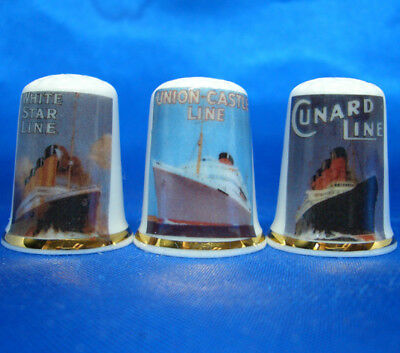 Birchcroft Porcelain China Thimbles - Set Of Three Shipping Line Posters