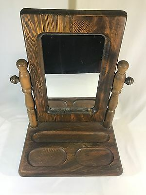 Vintage Wooden Standing Vanity Mirror Rustic Dresser Table Top