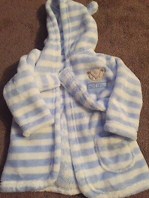 Baby blue stripe dressing gown 3-6 months