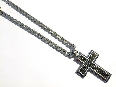 "Men's 20"" 925 Silver over Stainless Steel Mariner Necklace Carbon Fiber Pendant"