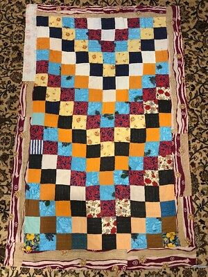 Hand Sewn Country Quilt Patchwork Multi Colors Rug 4X6 Handmade Reversible Q5