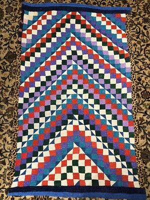 Hand Sewn Country Quilt Patchwork Multi Colors Rug 4X6 Handmade Reversible Q6