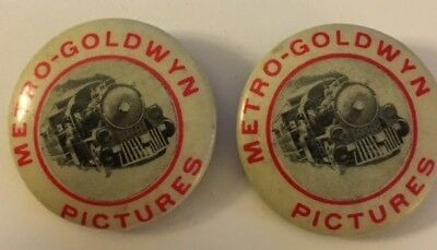 "Pair of 1"" Metro-Goldwin Pictures Pin Buttons"