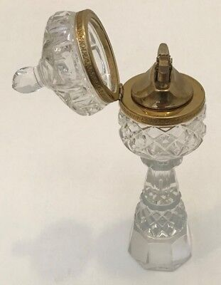 Clear Crystal Cut Glass w/ Gold Trim Table Dome Finial Lighter Vintage Antique
