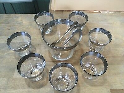 MCM Cocktail Dorothy Thorpe Era 7 Double Shot Rocks Glasses Ice Bucket Tongs