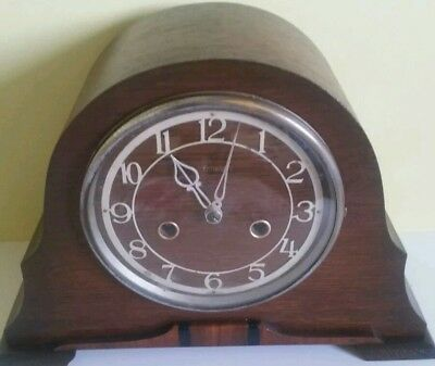 Vintage Smiths Enfield Striking Mantel Clock With Original Key..