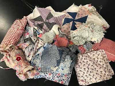 "Lot vtg feedsack & cotton print scraps, 1"" & 2"" blocks for quilting & doll Craft"