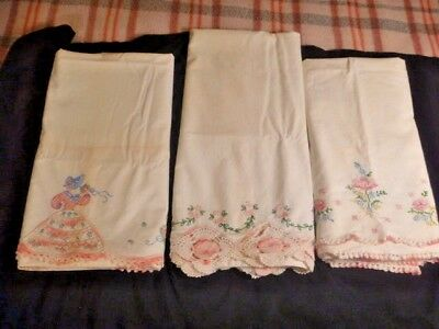 3 Pair of Vintage Crocheted Embroidered Pillow Cases Need Repair