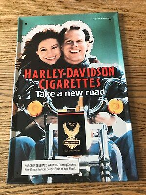 "Vintage New Old Stock 1987 Harley Davidson Cigarettes Embossed Tin Sign 9"" x 14"""