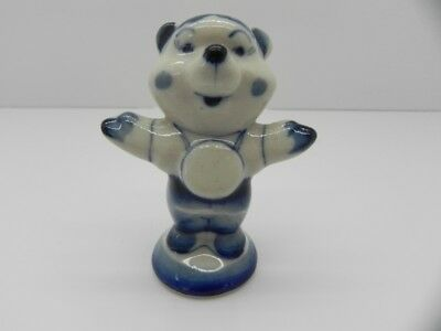 Collectable Hand Made Gzhel Russian Hand Painted Porcelain Teddy Bear Figure