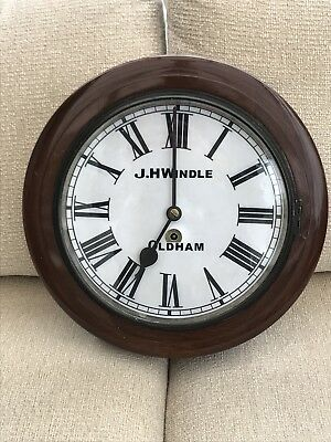 Large Antique J H Windle Oldham Wall Dial Mill Clock