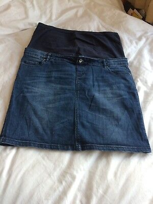 Mamalicious Maternity Denim Skirt Size L Over Bump Ideal For Summer.