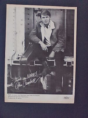 "GLEN CAMPBELL ""Thank You NARAS!"" (1968) Original Promo Poster Ad"