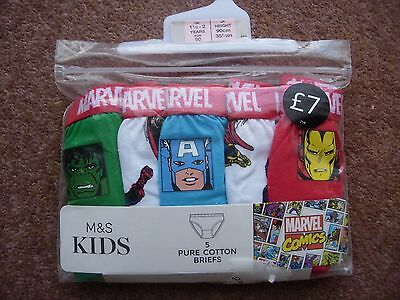M&s Kids - Boy's 5 Pack Marvel Briefs - 1.5/2 Years - New Rrp £7.00