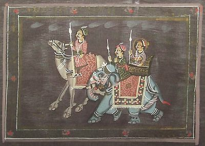 Indian Miniature / Mogul Scene / Hand Painted on Cloth (see details)(M274)