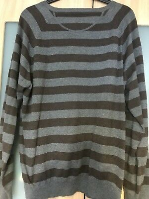 Mens Large Grey Striped Jumper  -NEXT- Excellent Condition