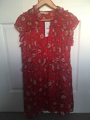 BNWT Zara red ruffle floral SS18 dress ladies Large. SOLD OUT. New. RRP £29.99