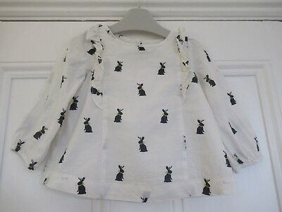 18-24m: Cute cotton blouse/top: Ivory + black bunnies: Baby GAP: Good condition