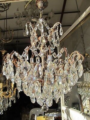 Antique Vnt French HUGE Spider Style Crystal Chandelier 1940s 19in dmtr Rare