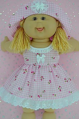 """Play n Wear Doll Clothes To Fit 16"""" Cabbage Patch PINK GINGHAM OVERLAY DRESS~HAT"""
