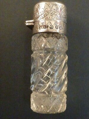 Victorian Cut Glass Silver Top Scent Bottle