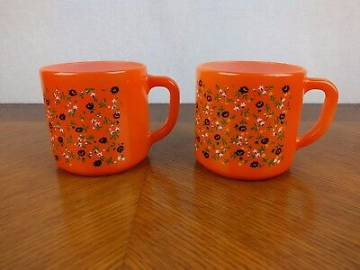 VTG Pair of Orange Federal Cup Glass Milk Coffee Mug Flower Retro Kitchen Unique