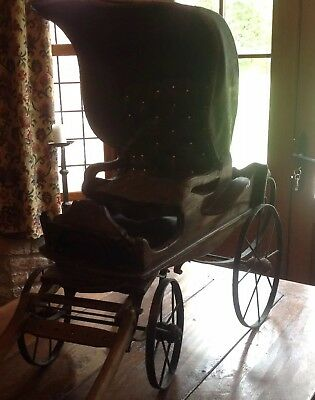 Bargain !! Antique Carriage With Cover And Quilted Seat WAS £250 NOW £99