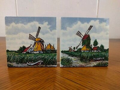 VTG 2 Small Dutch Delft Holland Windmill Tiles Coaster Kitchen Trinket Ceramic