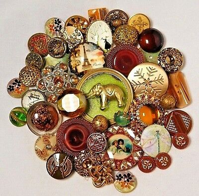 Antique VINTAGE Button LOT VICTORIAN Collectible  Glass METAL JEWEL PEARL N
