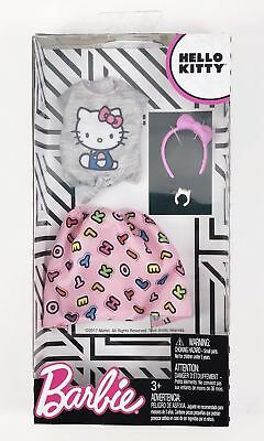 Barbie doll Hello Kitty Fashion Gray Top & Pink  Letter Skirt  Pack Set 2018 New